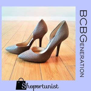 BCBG Tan Snake Skin Heels NWOT